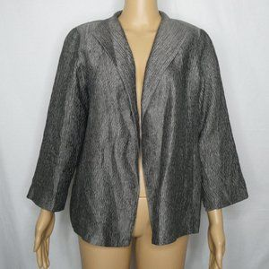 Eileen Fisher Grey Metallic Silk Open Front Jacket
